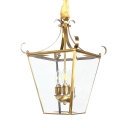Candle Shape Hallway Chandelier Clear Glass and Metal 3 Lights Vintage Ceiling Light in Brass