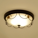 Antique Dome Flush Mount Light 3/4 Lights Frosted Glass Light Fixture in White for Bedroom
