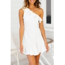 Womens Sexy One Shoulder Ruffled Hem Mini A-Line Dress