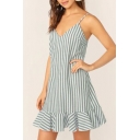 Summer Trendy Blue Striped Printed V-Neck Sleeveless Ruffled Hem Mini Slip Dress