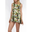Summer Chic Green Tropical Leaf Printed Round Neck Sleeveless Mini Tank Dress