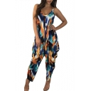Women's New Hot Fashion Blue Tie Dye Printed Spaghetti Straps Sleeveless Loose Jumpsuits
