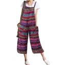 Women's New Summer Geometric Print Spaghetti Straps Loose Beach Overalls Jumpsuits