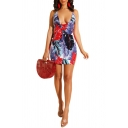 Chic Tropical Leaf Printed Halter V-Neck Backless Mini Bodycon Dress for Women