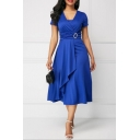 Womens Plus Size Summer Solid Color V-Neck Short Sleeve Midi A-Line Dress