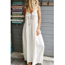 Womens New Trendy Simple Solid Color V-Neck Linen Casual Loose Maxi Linen Slip Dress
