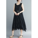 Summer Women's Basic Simple Plain Round Neck Sleeveless Maxi Lace Dress