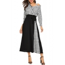 Women's Trendy Plaid Printed Cold Shoulder Long Sleeve Bow-Tied Waist Wrap Front Maxi Button Shirt Dress