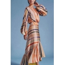 Women's Apricot Striped Print Round Neck Long Sleeve Ruffle Detail Maxi Asymmetrical Dress