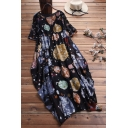 Women's Ethnic Floral Print Short Sleeve Round Neck Loose Maxi A-Line Dress