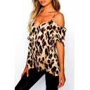 Women's Fashion Leopard Printed V-Neck Cold Shoulder Khaki T-Shirt