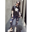 Summer Simple Star Pattern Round Neck Short Sleeves Casual Black Tee For Girls