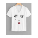 Women's New Style White V-Neck Short Sleeve Figure Printed Tee