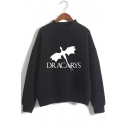 New Trendy Mock Neck Long Sleeve Dragon Dracarys Printed Casual Pullover Sweatshirt