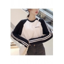 New Style BAYUE Letter Print Color Block Long Sleeve Round Neck White Cotton T-Shirt