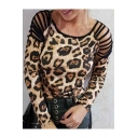 Women's Fashion Leopard Printed Round Neck Cut Out Long Sleeve T-Shirt