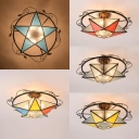 Tiffany Style Semi Flush Ceiling Light Star Shape Glass Ceiling Fixture for Bedroom