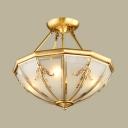 Luxurious Cone Semi Flush Mount Light Metal 4/6 Lights Ceiling Light for Bathroom Hotel