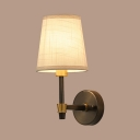 Rustic Style Tapered Sconce Light Fabric 1 Light White Wall Light for Hallway Study Room