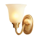 1 Light White Bell Wall Lamp Antique Style Frosted Glass Wall Light for Study Room Bedroom