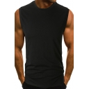 Summer Mens Basic Solid Color Round Neck Sleeveless Simple Tank Top