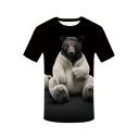 Hot Popular 3D Teddy Bear Printed Basic Round Neck Short Sleeve Black T-Shirt For Men