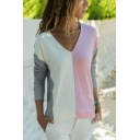 Womens Hot Fashion Color Block V-Neck Long Sleeve Loose Casual T-Shirt