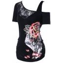 New Trendy Rose Floral Print Lace-Panel Cold Shoulder Slim Fit T-Shirt for Women