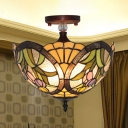 Traditional Flower Semi Flush Light Stained Glass 3/4 Lights Ceiling Fixture for Living Room
