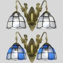 Dome Living Room Sconce Light Blue/Clear Glass 2 Lights Vintage Style Wall Light
