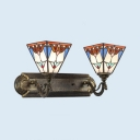 Trapezoid Sconce Wall Light 2 Lights Tiffany Style Antique Stained Glass Wall Lamp for Hallway