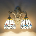 Tiffany Style Rustic Wall Lamp Stained Glass 2 Lights Bowl Sconce Light for Bedroom Bathroom