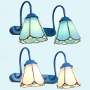 Tiffany Style Cone Wall Sconce 2 Lights Glass Sconce Wall Light for Restaurant Bedroom