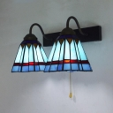 Tiffany Style Sconce Light with Pull Chain Trapezoid 2 Lights Stained Glass Wall Lamp for Shop