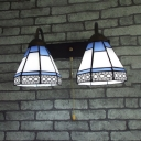 2 Lights Cone Sconce Light Antique Style Metal Wall Light with Pull Chain for Stair Hallway