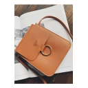 Simple Solid Color Letter Pattern Mini Crossbody Purse with Long Strap 14*6*18 CM