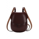 Simple Solid Color Retro Horseshoe Bag Long Strap Crossbody Bag 16*5*19 CM