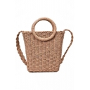 New Trendy Plain Khaki Straw Top Handle Crossbody Tote 16*8*20 CM