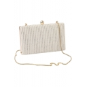 Trendy Solid Color White Crossbody Clutch with Chain Strap 19.8*4.5*12 CM