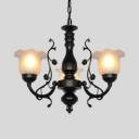 Traditional Black/White Chandelier with Flower Shade 3/5/6 Lights Metal Hanging Light for Bedroom