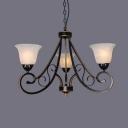 Bell Shade Dining Room Chandelier Metal 3/5/6 Lights Antique Hanging Light in Matte Black
