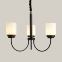 Cylinder Shade Kitchen Chandelier Metal 3/6/8 Lights Simple Style Pendant Light in Black