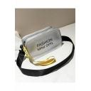 Popular Letter Printed Ribbon Embellishment Crossbody Shoulder Bag 20*8*11 CM