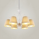 Beige Tapered Shade Chandelier 6/8 Lights Traditional Style Metal Suspension Light for Restaurant