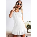Girls Summer Trendy Ruffled Straps Tied Front Sleeveless Simple Plain Mini A-Line Tank Dress
