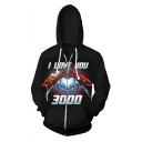 Stylish Iron Hand Heart I LOVE YOU 3000 Long Sleeve Zip Up Drawstring Hoodie