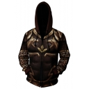 New Stylish Cool 3D Armour Wolf Head Printed Long Sleeve Brown Zip Up Hoodie