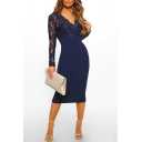 Sexy Trendy V-Neck Long Sleeve Plain Pattern Lace Patch Midi Bodycon Dress