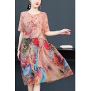 Women's Elegant Round Neck Half Sleeve Floral Pattern Midi Silk Beach Dress