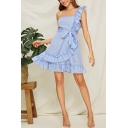 Ladies Hot Fashion Stripes Printed One Shoulder Sleeveless Bow-Tied Waist Ruffle Side Mini A-line Blue Dress